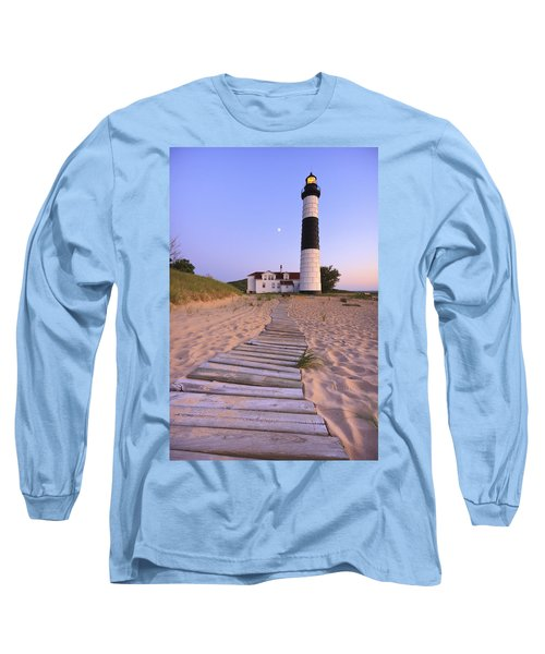 Big Sable Point Lighthouse Long Sleeve T-Shirt by Adam Romanowicz