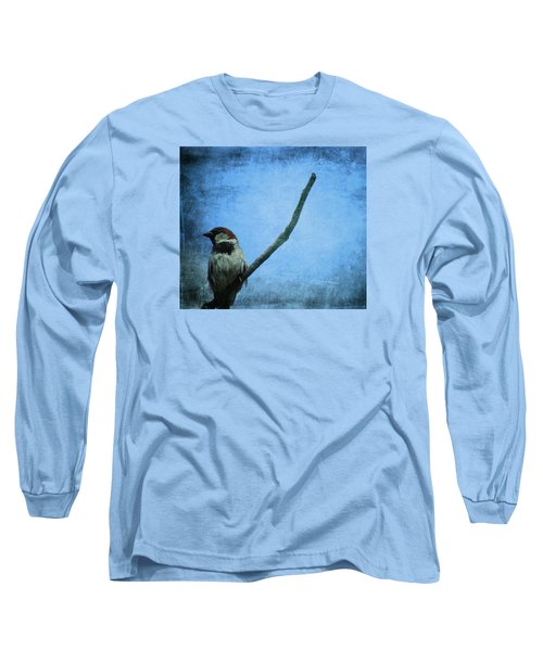 Sparrow On Blue Long Sleeve T-Shirt by Dan Sproul
