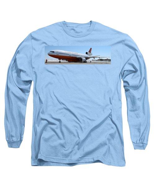Long Sleeve T-Shirt featuring the photograph Dc-10 Air Tanker At Rapid City by Bill Gabbert