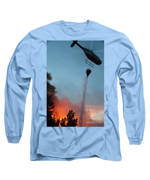 Long Sleeve T-Shirt featuring the photograph Helicopter Drops Water On White Draw Fire by Bill Gabbert