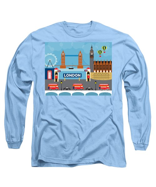 London England Skyline Style O-lon Long Sleeve T-Shirt by Karen Young