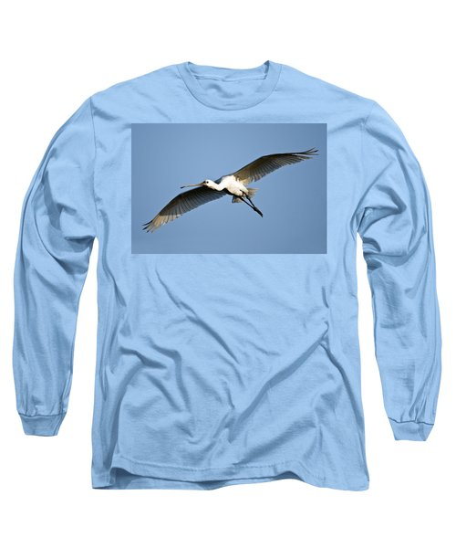 Low Angle View Of A Eurasian Spoonbill Long Sleeve T-Shirt by Panoramic Images