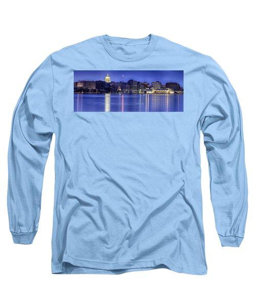 Madison Skyline Reflection Long Sleeve T-Shirt by Sebastian Musial