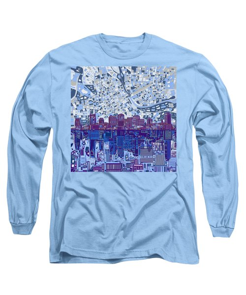 Nashville Skyline Abstract 8 Long Sleeve T-Shirt by Bekim Art