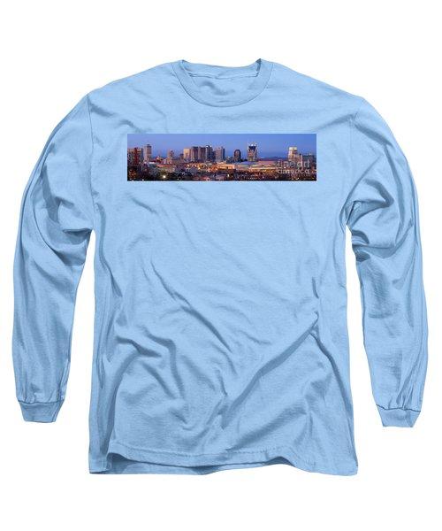 Nashville Skyline At Dusk Panorama Color Long Sleeve T-Shirt by Jon Holiday