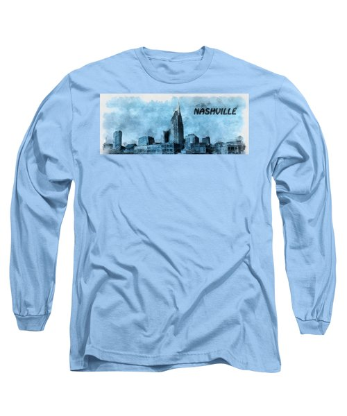 Nashville Tennessee In Blue Long Sleeve T-Shirt by Dan Sproul
