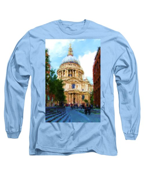 On The Steps Of Saint Pauls Long Sleeve T-Shirt by Jenny Armitage