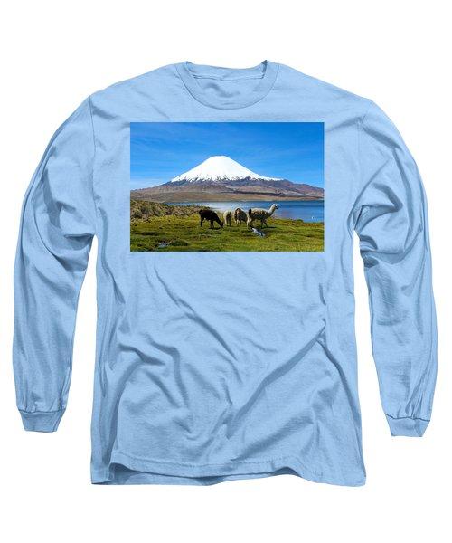 Parinacota Volcano Lake Chungara Chile Long Sleeve T-Shirt by Kurt Van Wagner