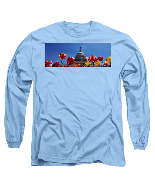 Tulips With A Government Building Long Sleeve T-Shirt by Panoramic Images