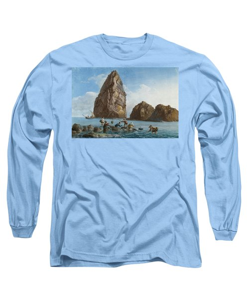 View Of The Rocks On The Third Island Of Cyclops Long Sleeve T-Shirt by Jean-Pierre-Louis-Laurent Houel