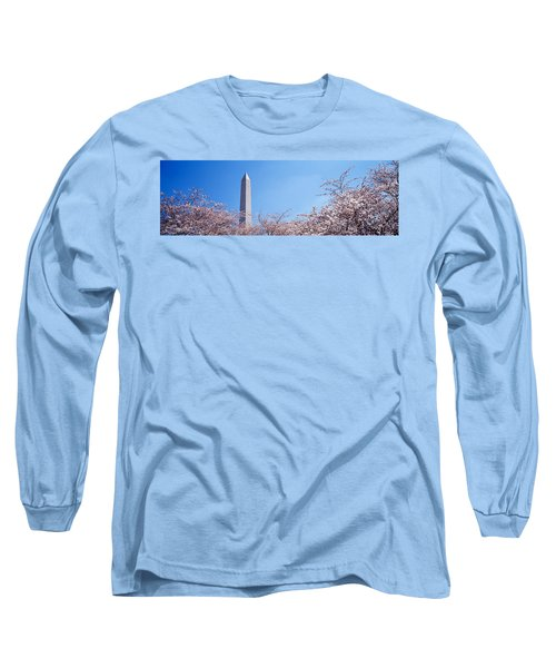 Washington Monument Behind Cherry Long Sleeve T-Shirt by Panoramic Images