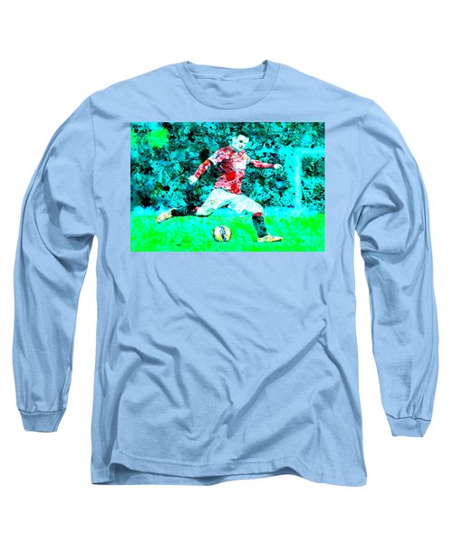 Wayne Rooney Splats Long Sleeve T-Shirt by Brian Reaves