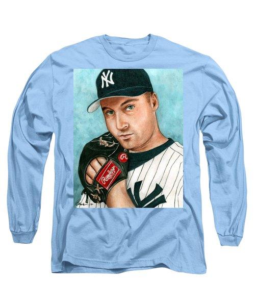 Derek Jeter  Long Sleeve T-Shirt by Bruce Lennon