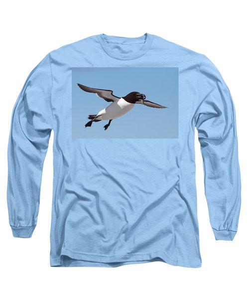 Razorbill In Flight Long Sleeve T-Shirt by Bruce J Robinson
