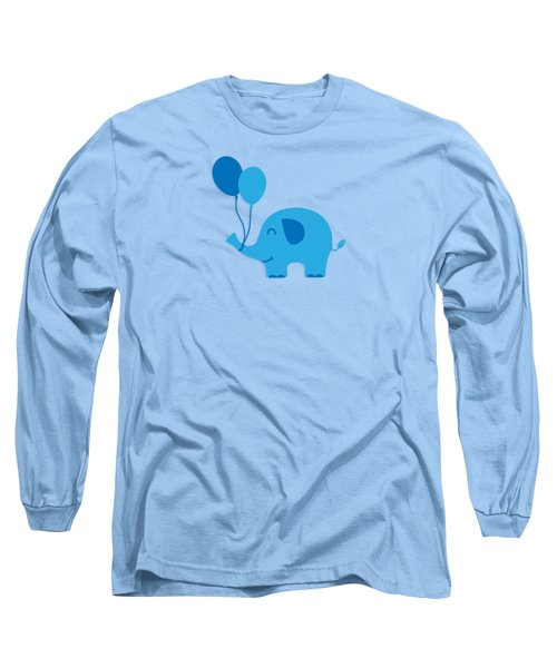 Sweet Funny Baby Elephant With Balloons Long Sleeve T-Shirt by Philipp Rietz