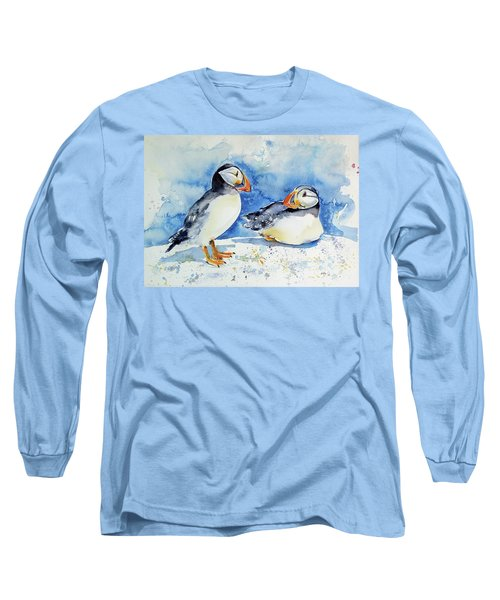 Puffins Long Sleeve T-Shirt by Kovacs Anna Brigitta