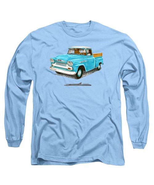 1958 Chevrolet Apache Pick Up Long Sleeve T-Shirt by Jack Pumphrey