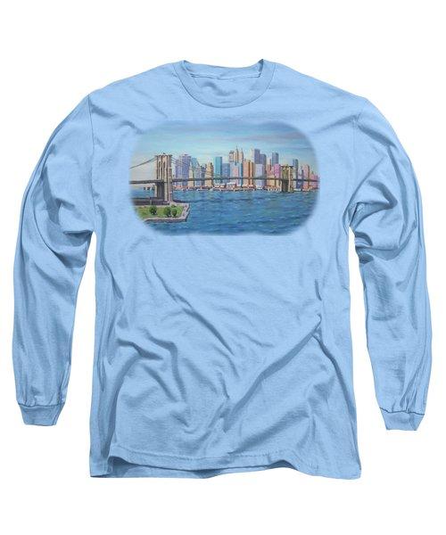 New York Brooklyn Bridge Long Sleeve T-Shirt by Renato Maltasic