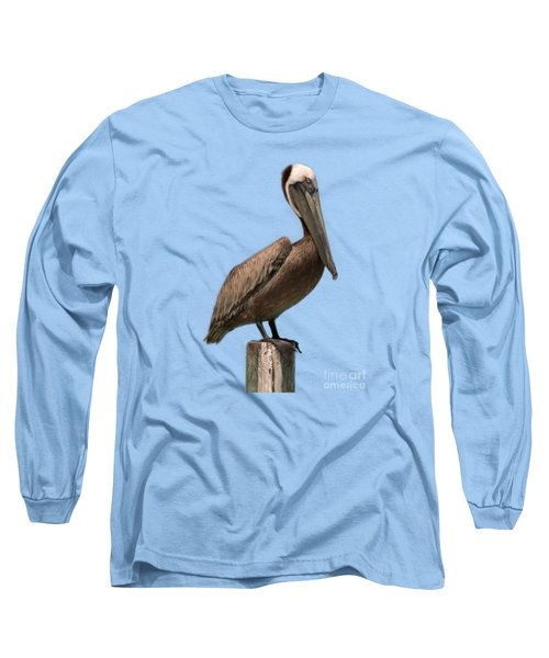 Pelican Perched On A Piling Long Sleeve T-Shirt by John Harmon