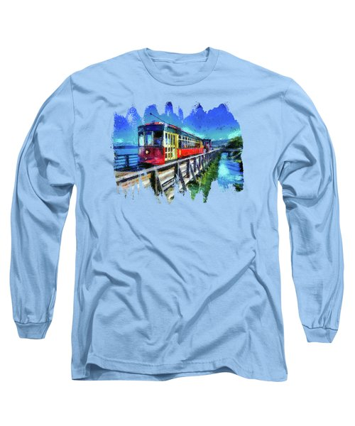 Astoria Riverfront Trolley Long Sleeve T-Shirt by Thom Zehrfeld
