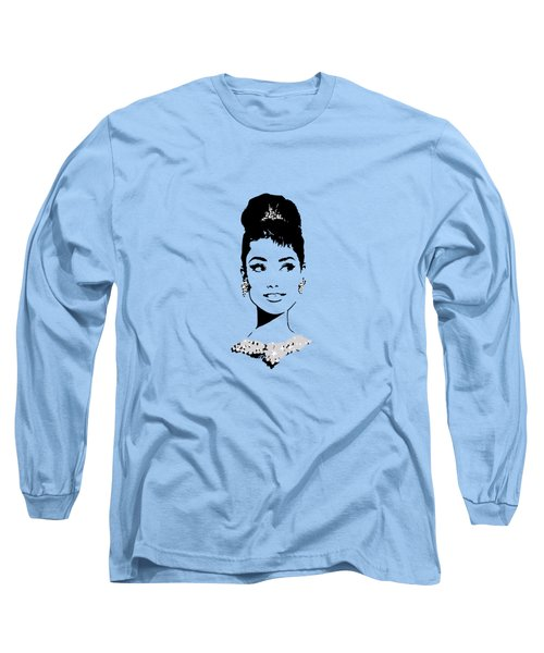 Audrey In Tiffany Blue Long Sleeve T-Shirt by Rene Flores