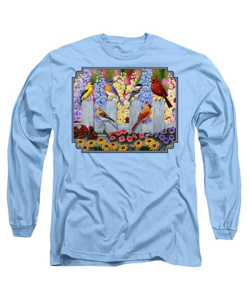 Bird Painting - Spring Garden Party Long Sleeve T-Shirt by Crista Forest