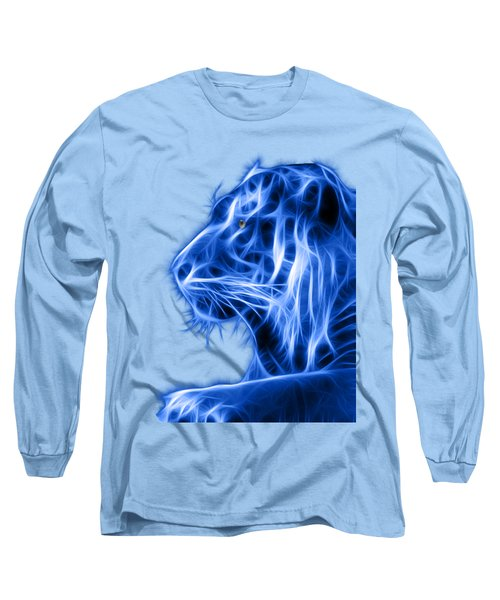 Blue Tiger Long Sleeve T-Shirt by Shane Bechler