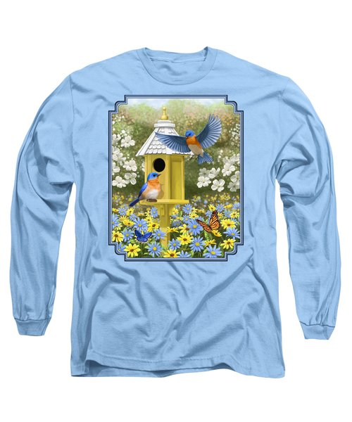 Bluebird Garden Home Long Sleeve T-Shirt by Crista Forest