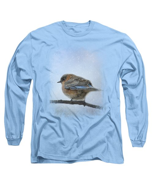 Bluebird In The Snow Long Sleeve T-Shirt by Jai Johnson