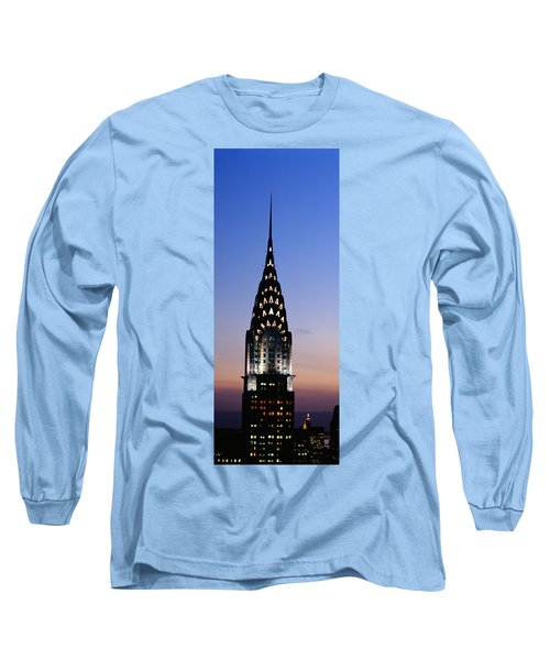 Building Lit Up At Twilight, Chrysler Long Sleeve T-Shirt by Panoramic Images