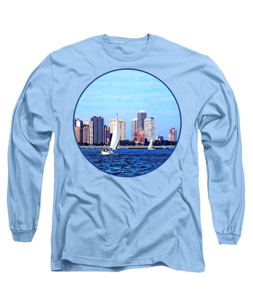 Chicago Il - Two Sailboats Against Chicago Skyline Long Sleeve T-Shirt by Susan Savad
