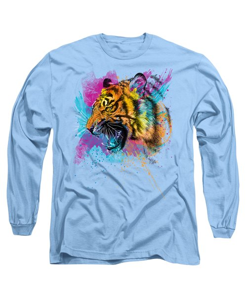 Crazy Tiger Long Sleeve T-Shirt by Olga Shvartsur
