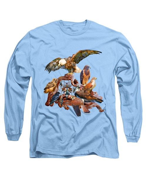 Dream Catcher - Spirit Birds Long Sleeve T-Shirt by Carol Cavalaris