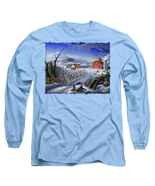 Folk Art Winter Landscape Long Sleeve T-Shirt by Walt Curlee
