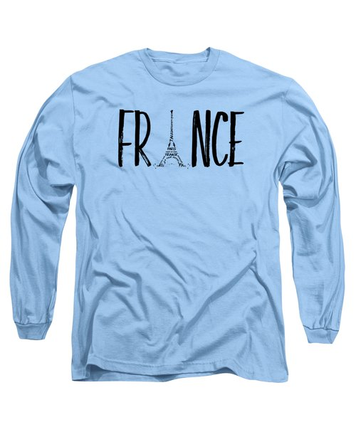 France Typography Panoramic Long Sleeve T-Shirt by Melanie Viola