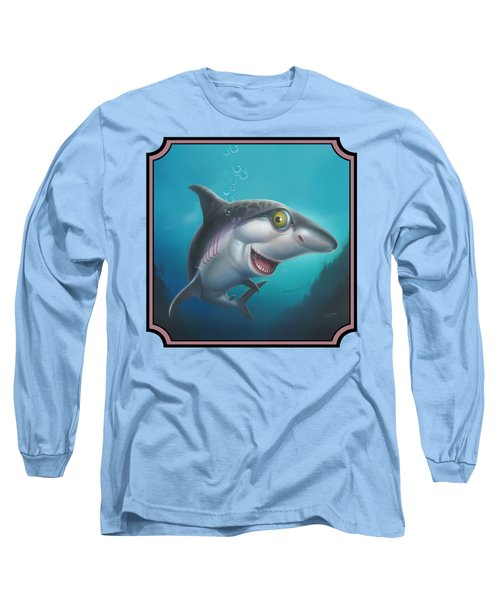 Friendly Shark Cartoony Cartoon - Under Sea - Square Format Long Sleeve T-Shirt by Walt Curlee