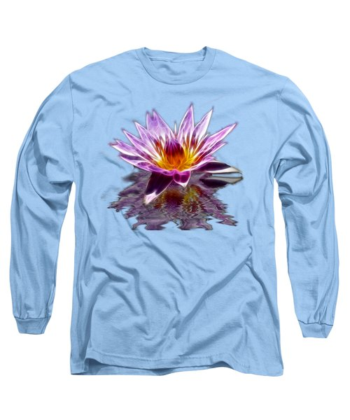 Glowing Lilly Flower Long Sleeve T-Shirt by Shane Bechler