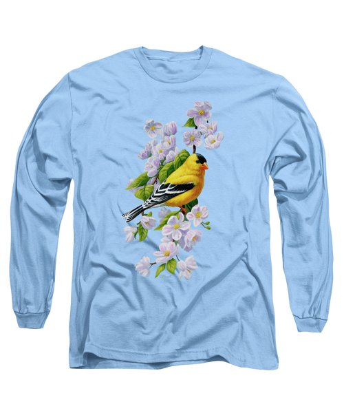 Goldfinch Blossoms Greeting Card 1 Long Sleeve T-Shirt by Crista Forest