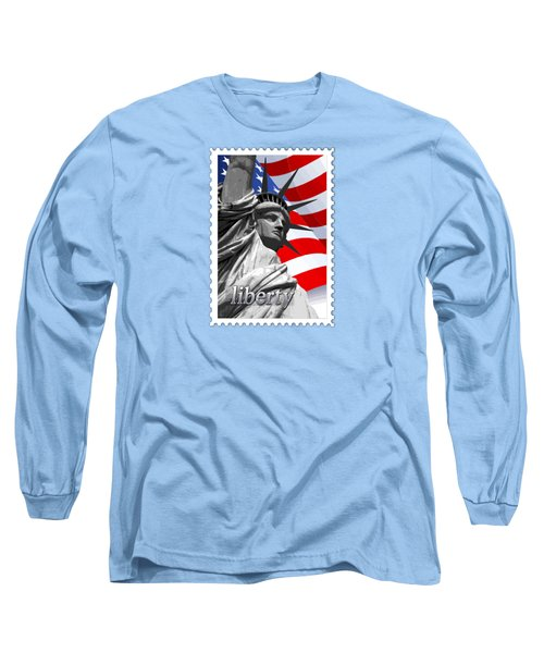 Graphic Statue Of Liberty With American Flag Text Liberty Long Sleeve T-Shirt by Elaine Plesser