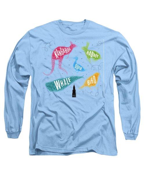 Kangaroo - Rabbit - Duck - Whale - Bird In Colors Long Sleeve T-Shirt by Aloke Design