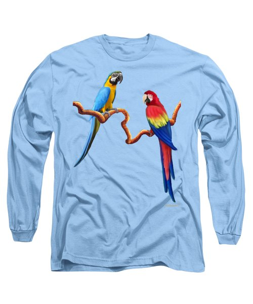 Macaw Tropical Parrots Long Sleeve T-Shirt by Glenn Holbrook