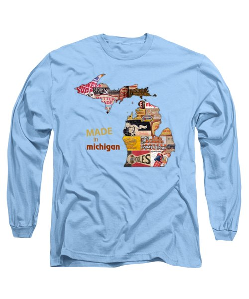 Made In Michigan Products Vintage Map On Wood Long Sleeve T-Shirt by Design Turnpike