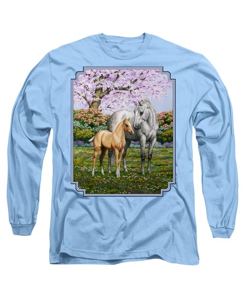Mare And Foal Pillow Blue Long Sleeve T-Shirt by Crista Forest
