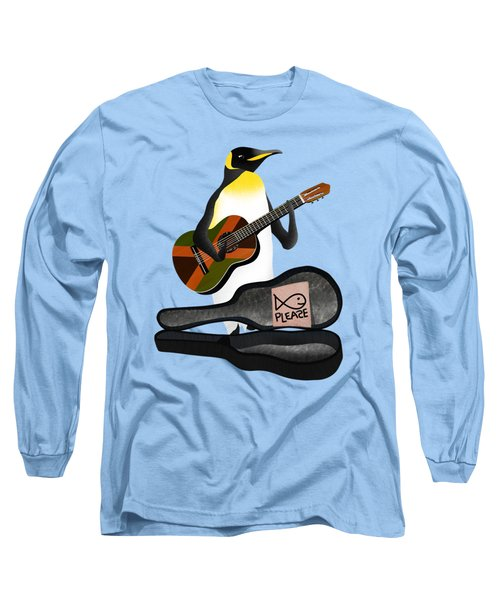 Penguin Busker Long Sleeve T-Shirt by Early Kirky