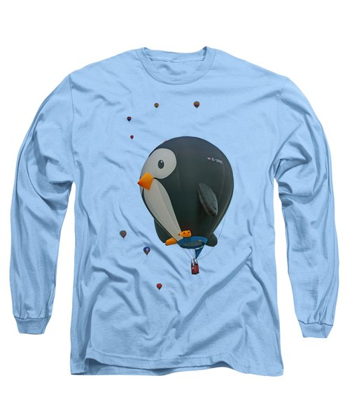 Penguin - Hot Air Balloon - Transparent Long Sleeve T-Shirt by Nikolyn McDonald