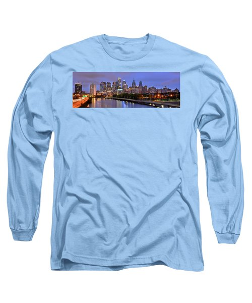 Philadelphia Philly Skyline At Dusk From Near South Color Panorama Long Sleeve T-Shirt by Jon Holiday