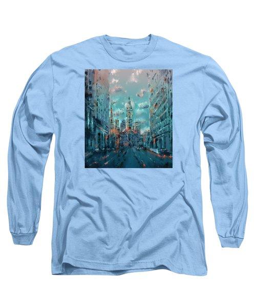 Philadelphia Street Long Sleeve T-Shirt by Bekim Art