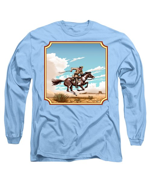 Pony Express Rider - Western Americana - Square Format Long Sleeve T-Shirt by Walt Curlee
