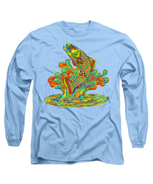 Rainbow Trout Long Sleeve T-Shirt by Rebecca Wang