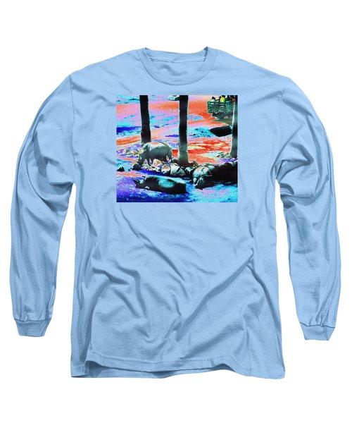 Rhinos Having A Picnic Long Sleeve T-Shirt by Abstract Angel Artist Stephen K